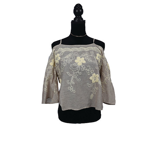 taupe floral embroidery open-shoulder top