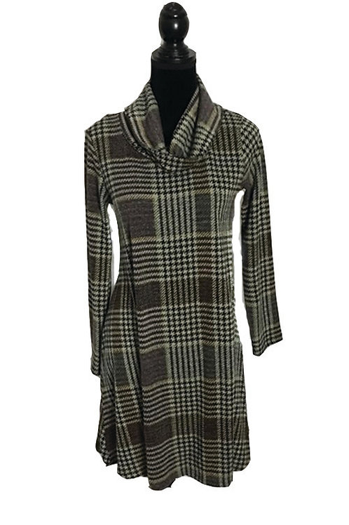 Grey and pink plaid dress with cowl neck