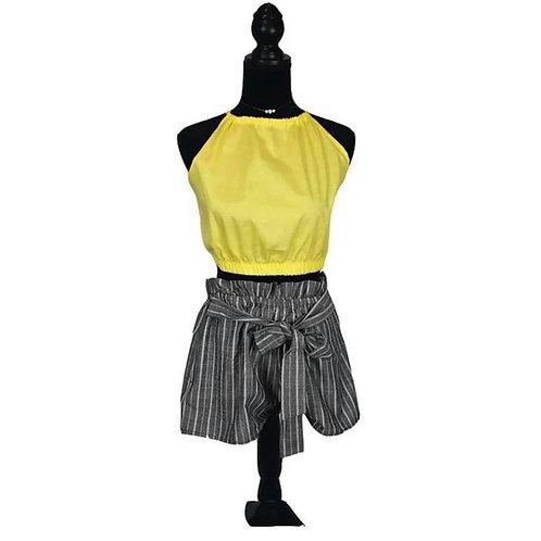 Grey shorts and yellow crop top