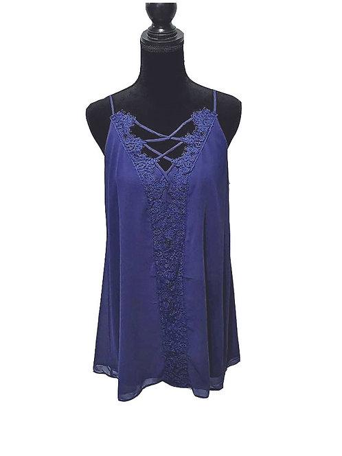 Deep royal lace trim, lattice neckline babydoll dress
