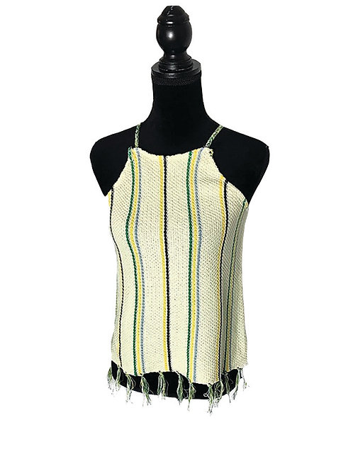 cream color knit cami with green, yellow, and slate stipes & fringe hem
