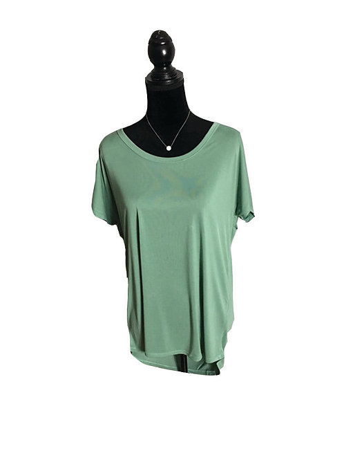sage short sleeve, with strappy cowl back top