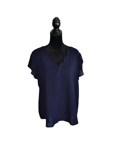 navy, scallop neck, tulip sleeve top