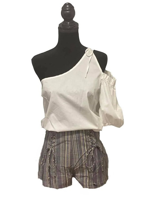 white poplin top and grey striped shorts