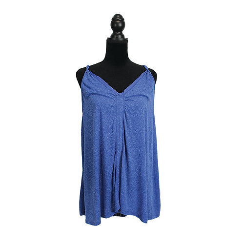 blue v-neck tank with twisted straps