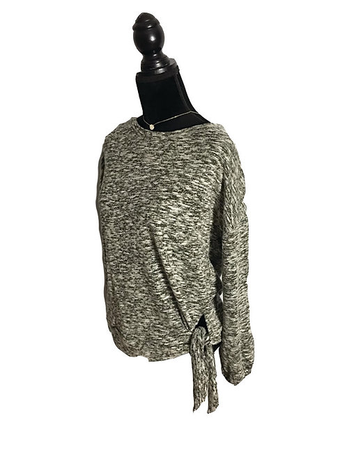 Dark olive brushed hacci sweatshirt with bottom tie
