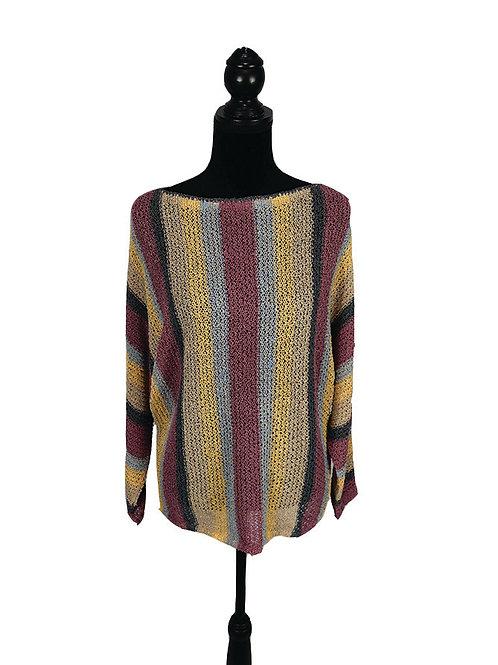 multi color striped, light knit doman sweater