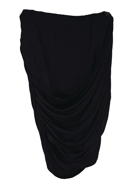 black draped mini skirt