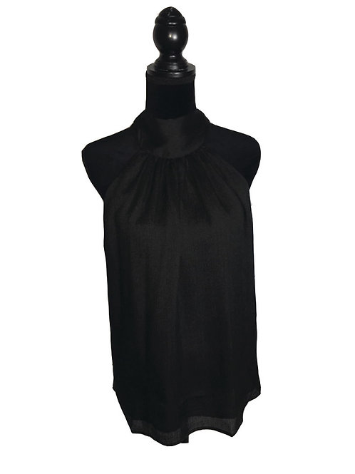 Black, sleeveless, high neck top that ties in bow at neck in back