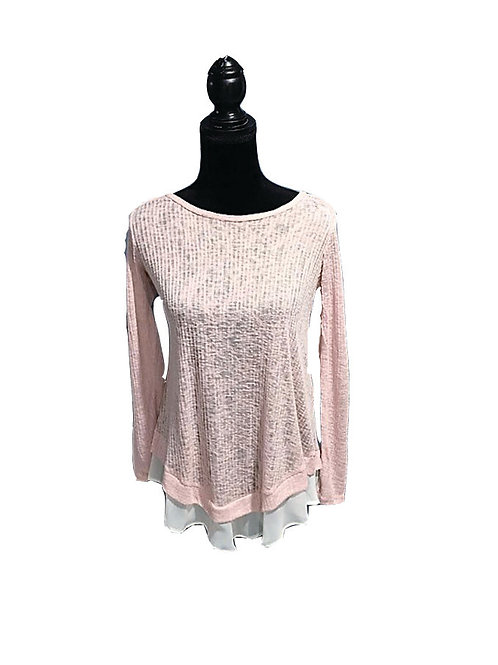 pink long sleeve knit top with sheer hem