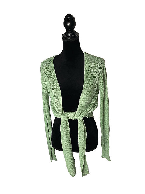 Sage sweatger cardigan with tie front