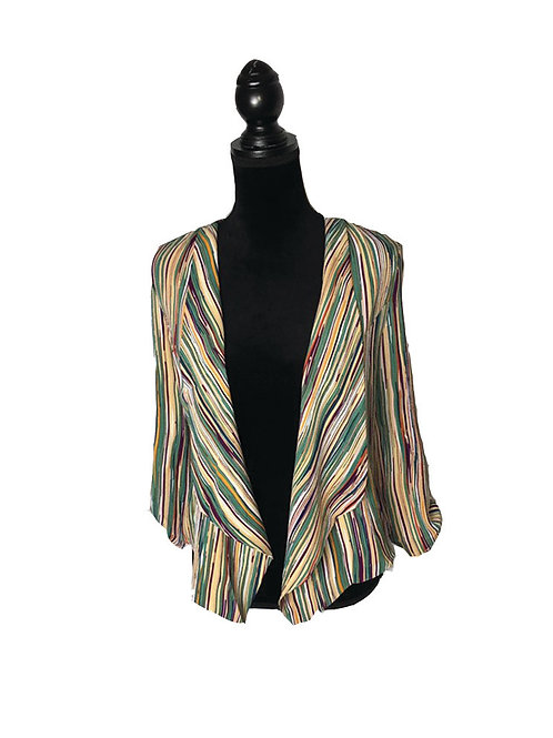 multi color striped waterfall front jacket