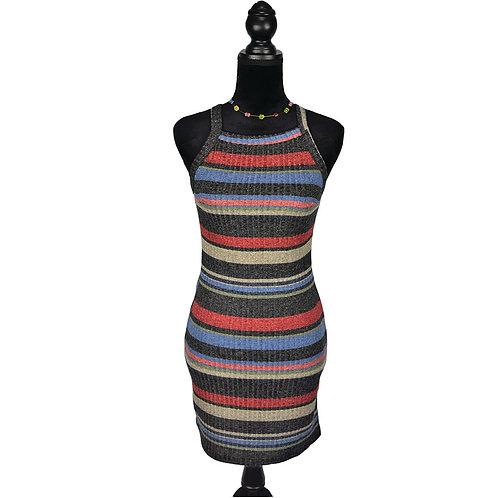 multi color stripe tank dress