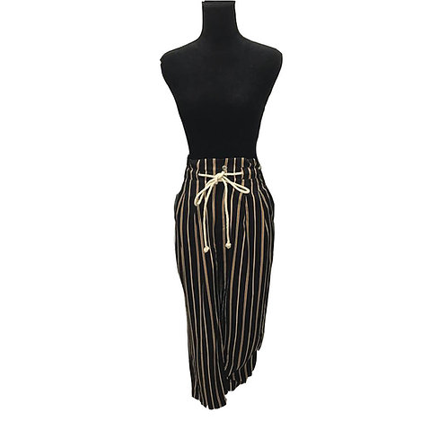 black pants with brown and cream pinstripes and rope belt