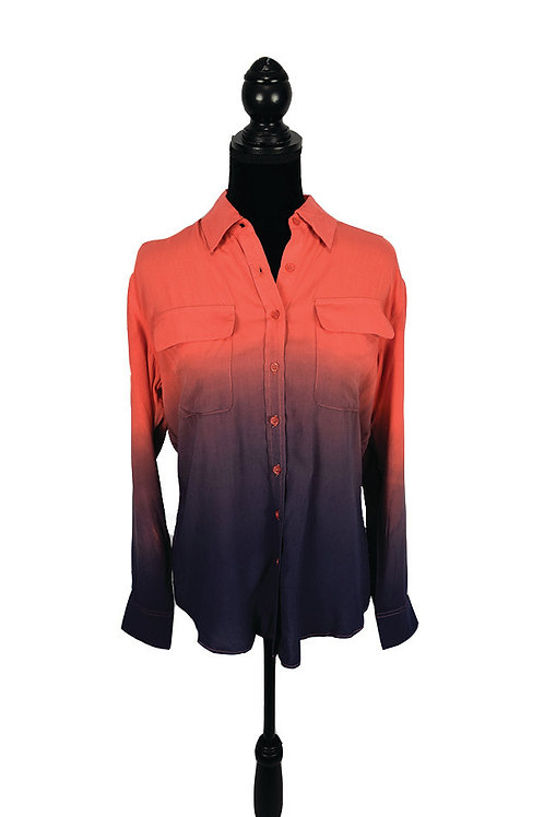 coral and navy ombre button down top with pockets