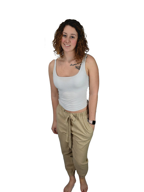Oatmeal comfy tie waist twill pants with cuffs