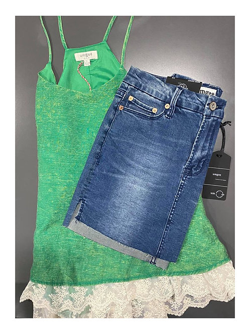 Green tank and denim skirt