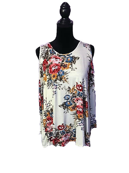 cream plus size cold shoulder top with floral print