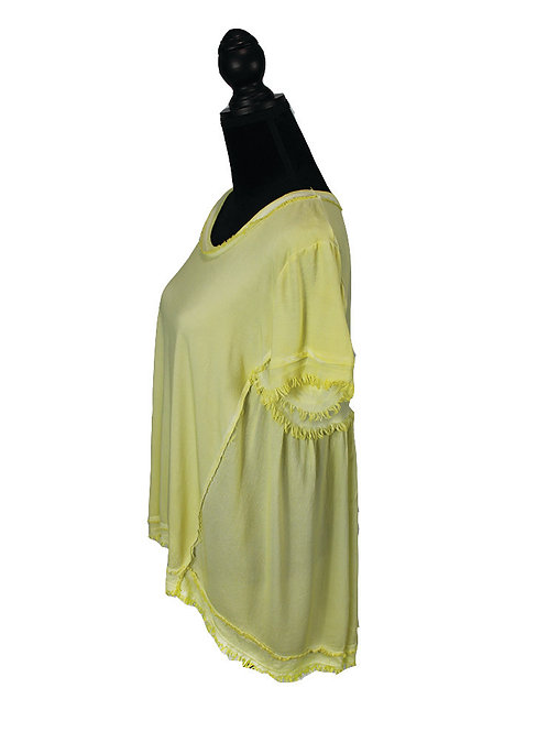 lemon short sleeve w/ fringe detail