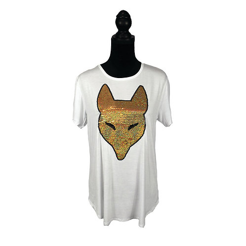 white short sleeve with sequin fox