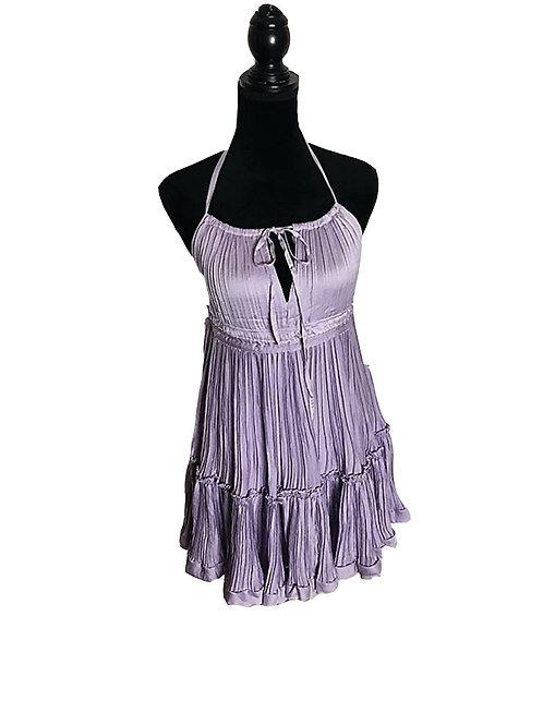 Lavender pleated halter dress