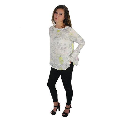 white & pastel flowered opened back shirt