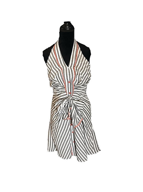 charcoal and white striped halter neck dress with peach trim