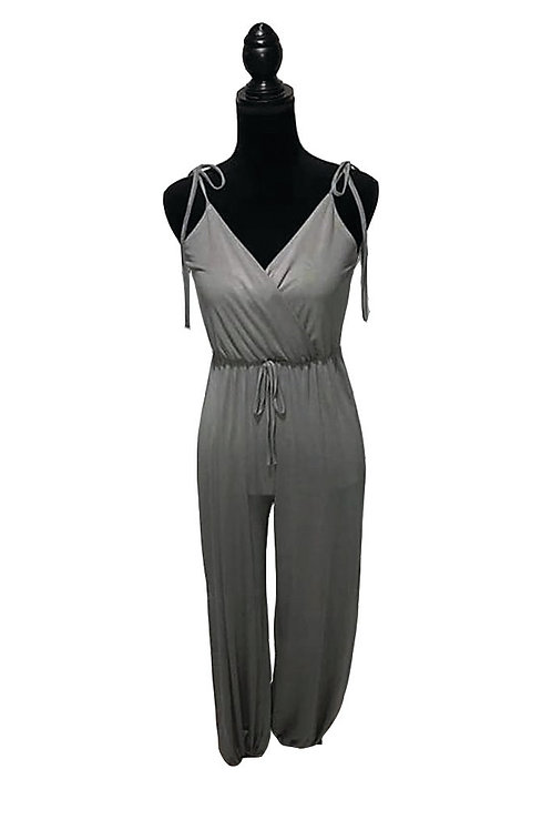 Olive romper with elastic waistband and side slits on legs