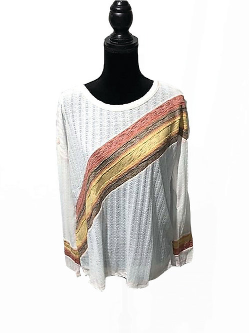 white long sleeve top with center diagonal stripes