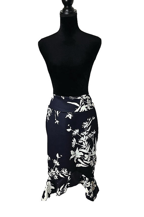 Navy with white floral, ruffle hem skirt