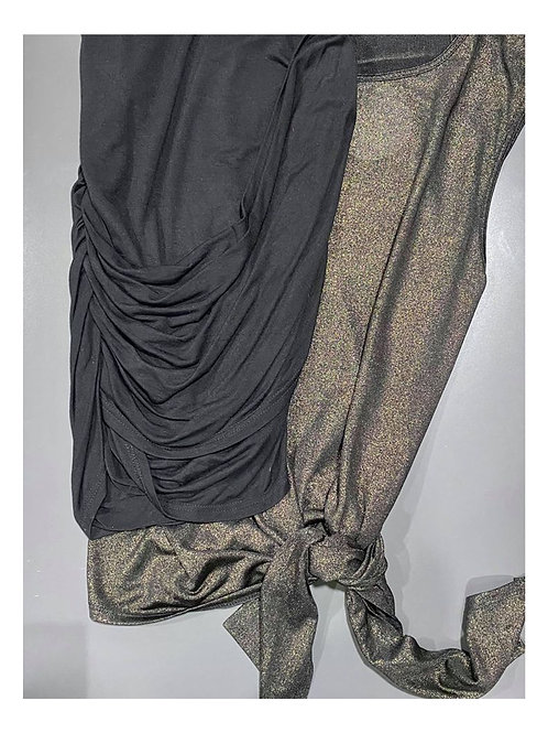 black/gold metallic top and black drapey mini skirt