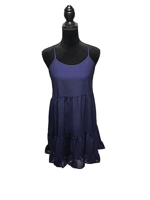 solid navy chiffon tank dress