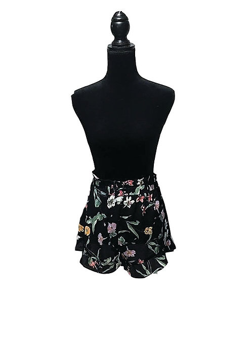 black SHEER floral print shorts/bathing suit cover up