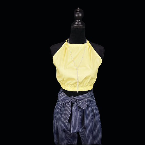 yellow crop top w/ criss cross and bow tie back