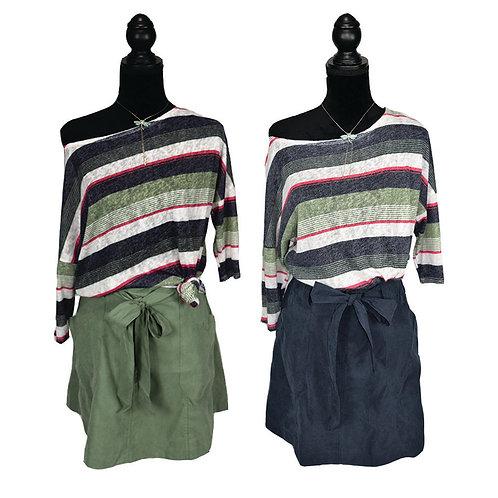 a-line skirt, in sage or navy, w/ waist tie, pockets,& zip up back