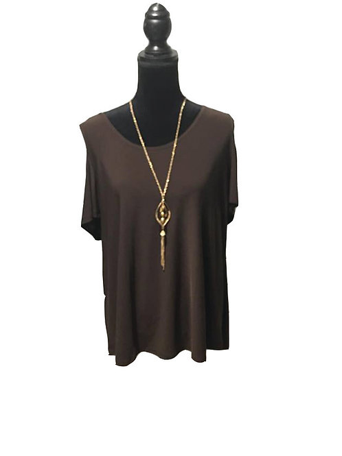 plus size brown, short sleeve, cold shoulder top with necklace