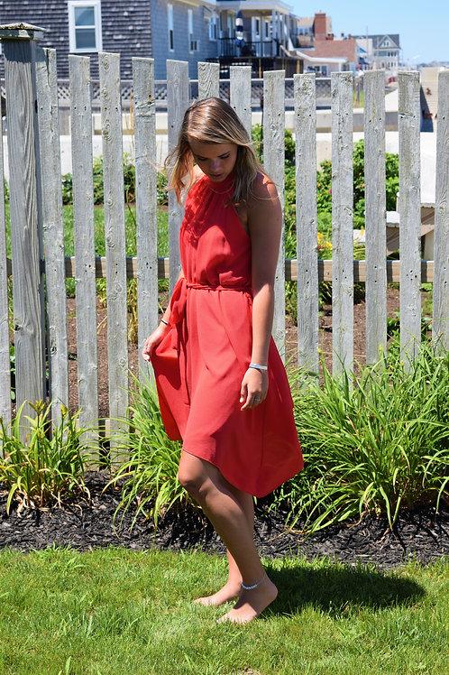 red, asymmetrical hem, racer front dress w/bow tie waist