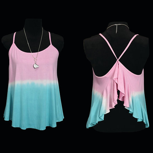 pink & light blue tie dye tank w/ open criss cross back
