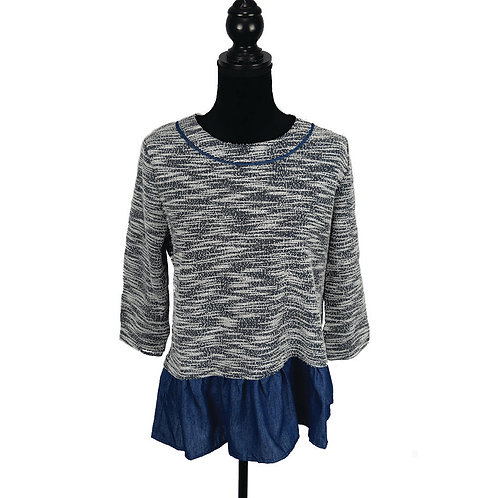 navy & white mid sleeve drop shoulder knit top with denim ruffle hem