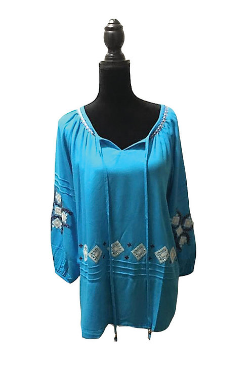 plus size, aqua blue boho top with embroidered details