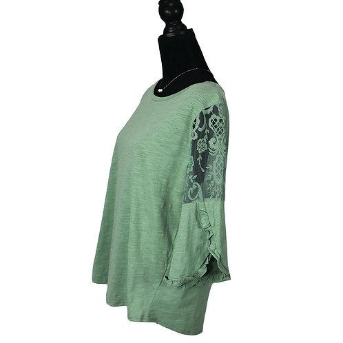 dusty mint, mid length split ruffle sleeve knit top