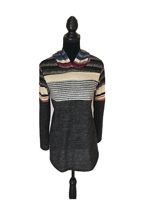 Black hoodie with striped top half