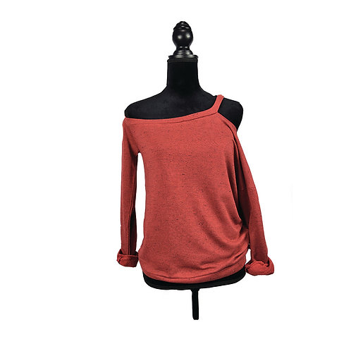 one shoulder marsala color sweatshirt