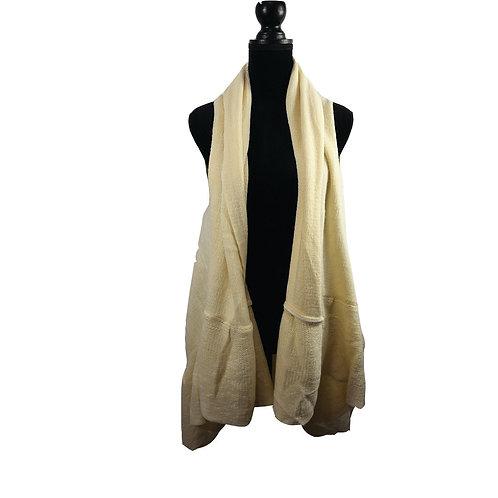 cream sweater ruffle bottom waterfall vest