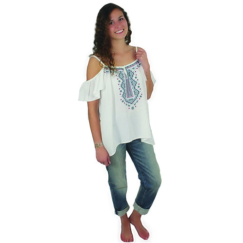 white open shoulder top with straps and embroidered detail