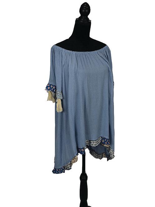 light blue off shoulder with tassels