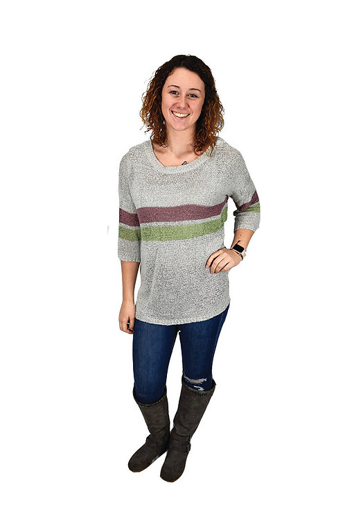 lt grey, light weight sweater with 3/4 sleeves and stripes