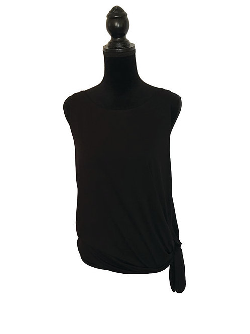 black sleeveless top with side tie at waist