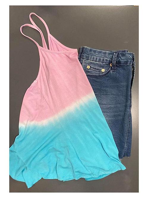 open back tank & denim skirt