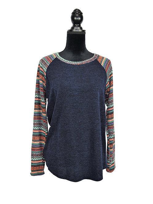 navy raglan knit top with multi color pattern sleeves